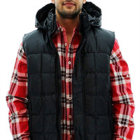 Marc New York Dublin Men's Ultra Down Quilted Vest With Hood - 2XL / Black
