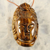 Hand Carved Chinese Gold Tiger Eye Buddha  Pendant