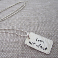 i am not afraid, i was born to do this inspirational hand stamped necklace