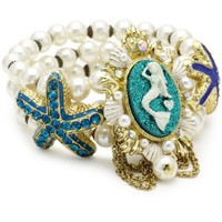 Betsey Johnson &quot;Sea Excursion&quot; Mermaid and Starfish Stretch Bracelet - designer shoes, handbags, jewelry, watches, and fashion accessories | endless.com