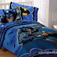 Batman Twin Bed Sheets Set - Shades of Blue 3pc Bedding - Twin Bed