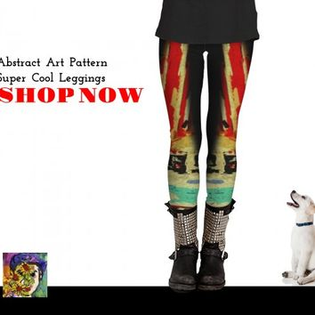 Abstract Art Red and Black by Ginette Callaway (Leggings)