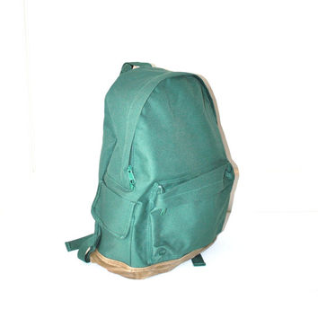 vintage CANVAS and SUEDE 80s backpack JANSPORT style minimalist grunge green book bag packsack