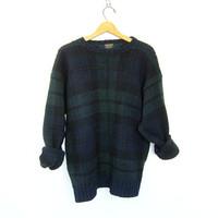 vintage blue and green wool sweater. slouchy knit pullover. oversized sweater.