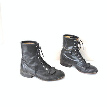 size 7.5 black WESTERN boots vintage 1970s RETRO rocker lace up FRINGE southwestern pointed toe booties