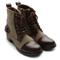 Ollio Women's Winter Military Ankle Boots Lace Ups Back Buckle Low Heels Shoes
