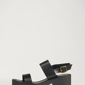 Simple Banded Chunky Heel Sandals