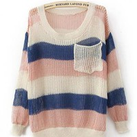 Colorful Rainbow Stripes Poket Sweater S000220