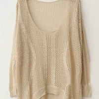 Twist Hollow-out Beige Sweater S002416