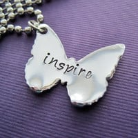 Personalized Butterfly Necklace - Inspire - Custom Handstamped Necklace