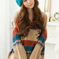 Loose Vintage Adorable Deer Sweater Khaki  S000396
