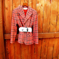 vintage orange and navy wool plaid Pendleton blazer.  preppy fashion. fall fashion. size 10
