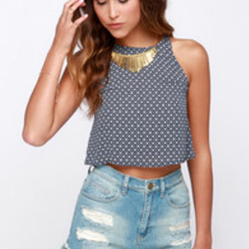 Whatcha Mosaic Navy Blue and Ivory Print Crop Top