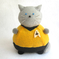 Star Trek Captain Kirk Cat Pincushion cute felt kitty cat collectable or gift for animal lover...MADE-TO-ORDER