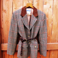 vintage houndstooth Pendleton wool blazer. petite size 8. fall fashion. preppy fashion