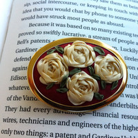 Burgundy and Cream Embroidered Silk Roses Brooch - Silk RIbbon Embroidery by BeanTown Embroidery