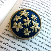 Blue and Yellow Embroidered Flowers Beaded Brooch - Silk Ribbon Embroidery by BeanTown Embroidery