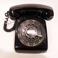 WORKING- Black Rotary Phone Telephone  1966