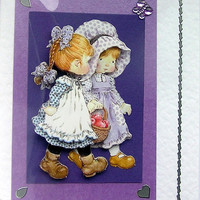 Best Friends Hand-Crafted 3D Decoupage Card - With Love (1463)
