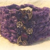 Purple Amethyst Boho Rag Cuff by BohemianGrove on Zibbet