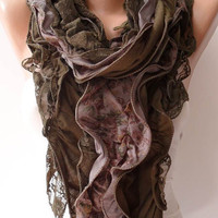 Autumn Ruffle Scarf - Green Lace and Cotton Scarf - Special Design