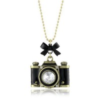 "Betsey Johnson ""Royal Engagement"" Large Camera Long Pendant Necklace - designer shoes, handbags, jewelry, watches, and fashion accessories 