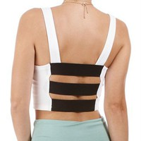 Ivory Ponte Crop Top W/Bar Back