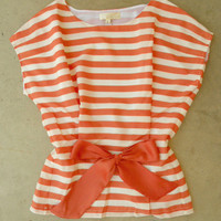 Central Stripe Blouse in Orange [3213] - $34.00 : Vintage Inspired Clothing &amp; Affordable Fall Frocks, deloom | Modern. Vintage. Crafted.