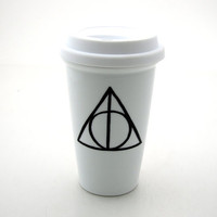Harry Potter Deathly Hallows Inspired Travel Mug Double Walled Porcelain