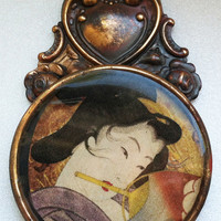 "Vintage Inspired Geisha Pendant- Handmade- ""Geishas and Courtesans"""