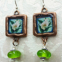"Vintage Inspired Earrings- ""Lily of the Valley"" - Antique Copper Topper - Lampwork Beads"