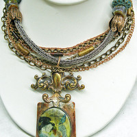 Handmade Vintage Inspired Necklace, Resin Pendant, Lampwork Beads