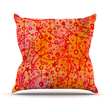 "Ebi Emporium ""Make A Wish"" Orange Red Outdoor Throw Pillow"