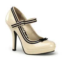 Cream Patent Leather & Black Stripe Secret Valentine Shoes - Unique Vintage - Bridesmaid & Wedding Dresses