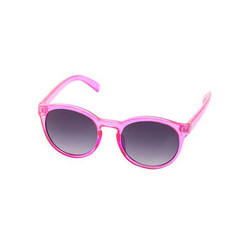 Round Plastic Sunglasses by Charlotte Russe - Pink