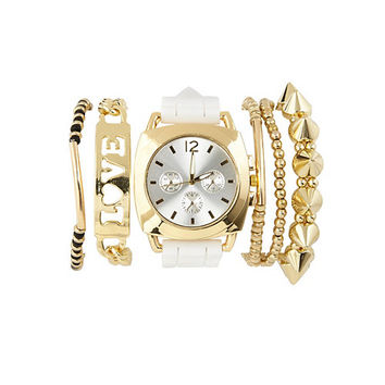 Rubber Watch & Bracelets - 6 Pack by Charlotte Russe - Gold