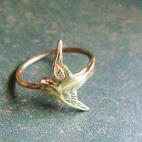 Brass Swallow Bird Ring on Antiqued Brass Band, Art Nouveau, Tattoo, Steampunk Free Shipping Worldwide