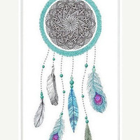 Native American Blue DreamCatcher On iPhone 5 Case, iPhone 5 Hard Case, iPhone Case-graphic Iphone case