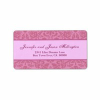 Pink Damask Wedding Personalized Address Labels from Zazzle.com