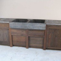 Lucca Antiques - Case Goods: Belgian Oak and Bluestone Kitchen Cabinet