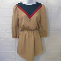 Vintage Awesome 70s WOMEN RETRO TOP Cut Dress Amazing Polyester Wool Shirt