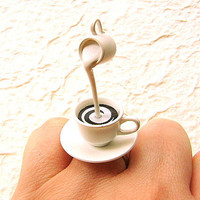 Kawaii Cute Japanese Ring  Coffee  With Cream by SouZouCreations