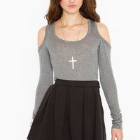 Open Shoulder Tee - Heather