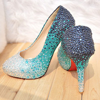 Kaliano Romeo Custom Crystal Design Pumps [customblueturquoise]