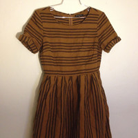 Broadway & Broome Mustard Yellow And Black Striped Linen Dress With Pockets  (Broadway and Broome)