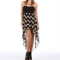 Pre-Order: Black/Taupe Zig Zag Hi Low Dress