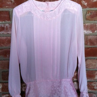 Vintage long sleeve pink blouse