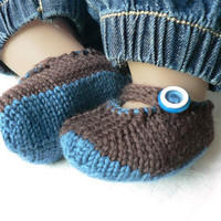 Blue and brown knitted merino wool baby bootie