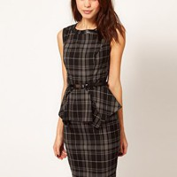 Warehouse Check Pencil Dress With Peplum at asos.com