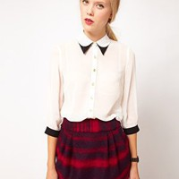 ASOS Blouse With Double Collar at asos.com